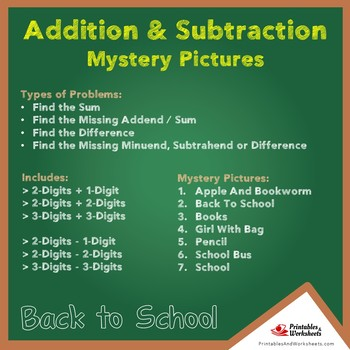 Back to School Addition and Subtraction Worksheets Mystery Pictures