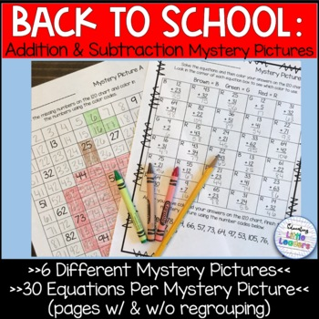 Back to School Addition and Subtraction Mystery Pictures