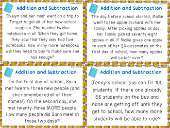 Back to School Addition and Subtraction Word Problem Task Cards {2.OA.A.1}