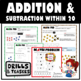 Back to School Addition and Subtraction to 20 Drills, Puzzles & Quizzes BUNDLES
