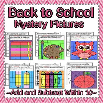 Back to School Addition and Subtraction within 10 Mystery Pictures