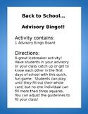 Back to School: Advisory Bingo!