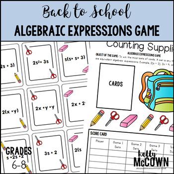 Back to School Algebraic Expressions Game