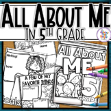 Back to School All About Me - 5th Grade Coloring & Writing
