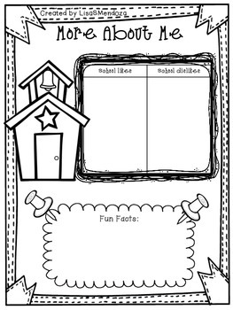 Back to School All About Me Activity Sheets for Upper Grades