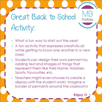 Back to School- All About Me Activity - Pennant - for 1st Day of School