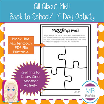 Back to School- All About Me Activity- Puzzle Pieces - for 1st Day of School