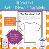 Back to School- All About Me Activity - T-shirt- for 1st Day of School