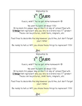 """Back to School """"All About Me"""" Bag Homework & Writing - 3rd Grade"""