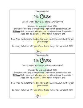 """Back to School """"All About Me"""" Bag Homework & Writing - 5th Grade"""