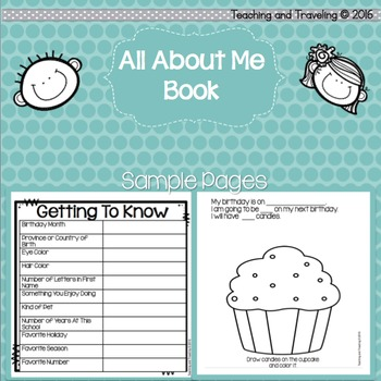 Back to School All About Me Book