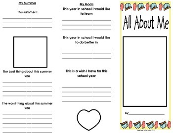 Back to School- All About Me Brochure