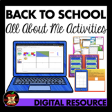 Back to School All About Me Digital Activities Distance Learning