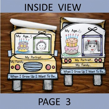 Back to School All About Me Kindergarten School Bus Flip Book