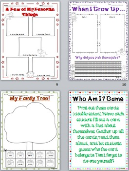Back to School: All About Me Packet!