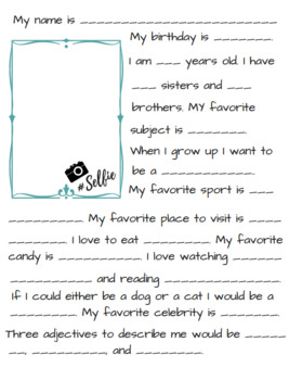 Back to School: All About Me Page