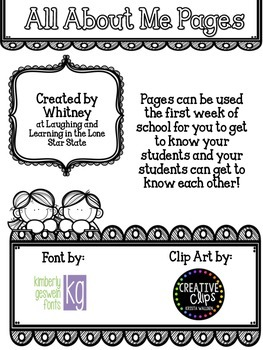 Back to School All About Me Pages
