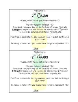 """Back to School """"All About Me"""" Paper Bag Homework & Writing - 2nd Grade"""