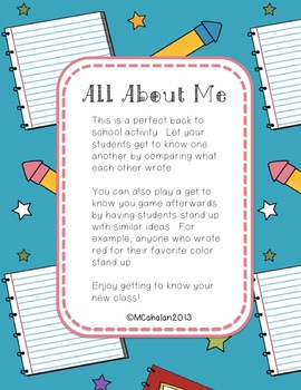 Back to School All About Me Poster