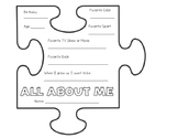 Back to School All About Me Puzzle Piece