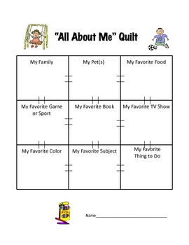 All About Me Creative Quilt Back to School Activity
