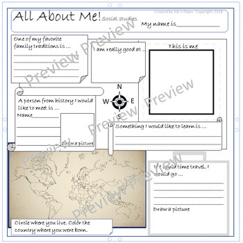 Back to School: All About Me Social Studies and ESL