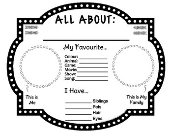 Back to School: All About Me / Star Student Presentation Sheet - UK English
