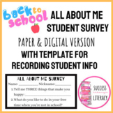 Back to School All About Me Survey & Recording Sheet - Dis