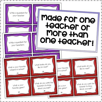 Back to School All About Me Task Cards/Scoot