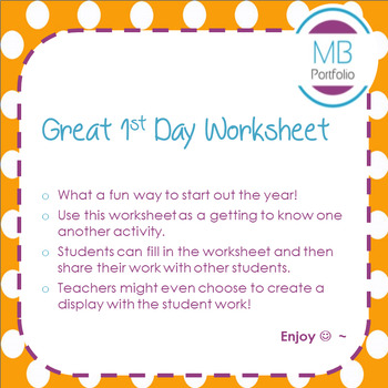 Back to School- All About Me Worksheet for 1st Day of School