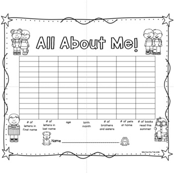 Back to School All About Me and My New Class Graph Book
