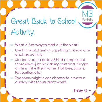 Back to School- All About Me in Apps for 1st Day of School