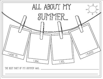 Back to School ~ All About My Summer ~ Camping Theme