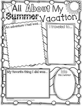 Back to School - All About my Summer Vacation (**FREEBIE**)