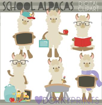 Back to School Alpaca Clipart