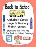 Back to School Alphabet Cards, Bingo & Memory Match - includes 26 fun drawings