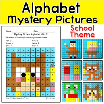 Alphabet Mystery Pictures: Capital Letters & Small Letters - School Theme