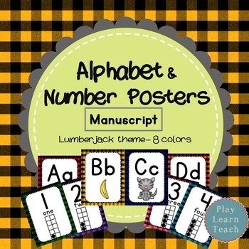 Alphabet & Number Posters - Plaid