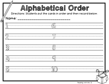 Back to School Alphabetical ABC order Dolch Sorting cards and Recording Page