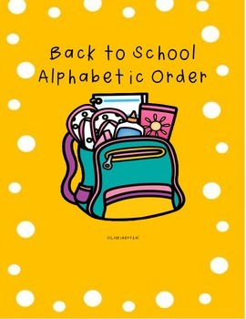 Back to School Alphabetical Order