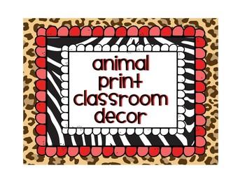 Back to School - Animal Print & Zebra Classroom Decor Pack