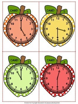 Back to School Apple Time to the Hour and Half Hour with/without QR Codes
