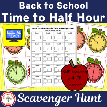 Back to School Apple Time to the Hour and Half Hour with/w