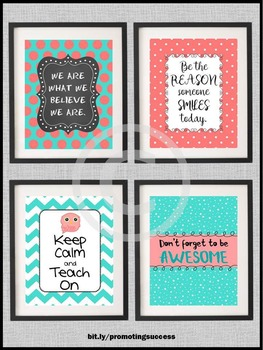 Owl Themed Classroom Posters, Aqua and Coral, Inspirational Quotes Large