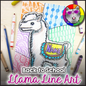 Back to School Art Project, Llama Line Art