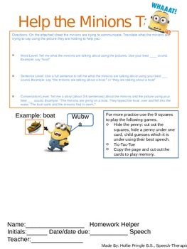 "Back to School Artic and Language Packet with ""Despicable Me 2!"" theme!"