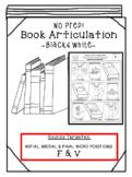 Back to School Articulation -Books! [F & V] Articulation