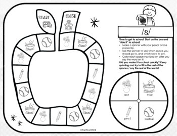 Back to School Articulation | Game Worksheets