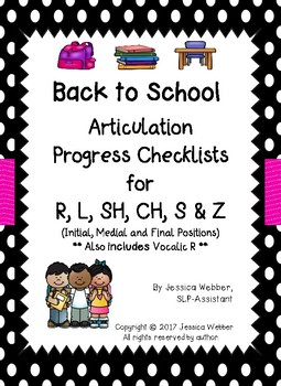 Back to School Articulation Progress Checklists for R, L, SH, CH, S and Z Words