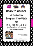Back to School Articulation Progress Checklists for R, L,